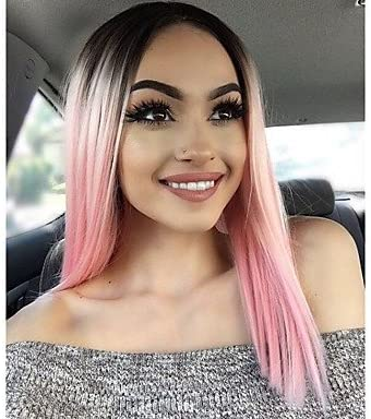 Mzp Women Synthetic Lace Front Wigs Fashion Short Black Pink Ombre Hair Straight Bobo For Black Women African Heat Resistant Pink Amazon Co Uk Beauty