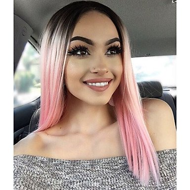 MZP Mujer Pelucas sintéticas Encaje Frontal Medio Ondulado Natural Rosa Peluca afroamericana Para mujeres de color