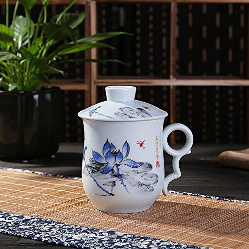 Harmony Porcelain Lotus (XYJHER Convenient Travel Office Loose Leaf Tea Brewing System Teacup-Porcelain Tea Cup,Lotus Trinidad)