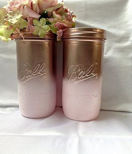 Amazon set of 2 rose gold and blush pink painted tall mason set of 2 rose gold and blush pink painted tall mason jars centerpieces boho baby junglespirit Image collections