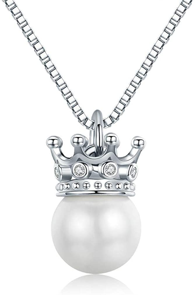 YHDBH 925 Sterling Silver Elegant Queen Crown Clear CZ Pendant Necklaces Lady Jewelry