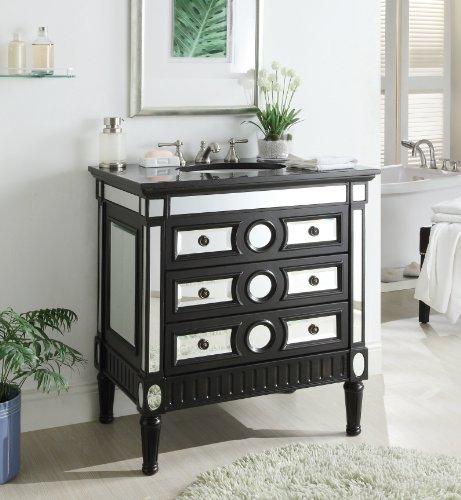 Chans Furniture 32″ Mirror Reflection Ambrosia Bathroom Sink Vanity Cabinet Model HF0534GT