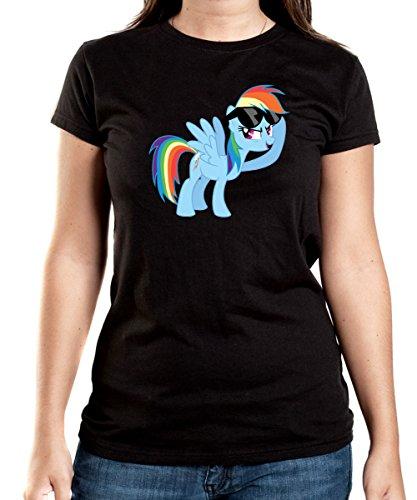 Rainbow Pony T-Shirt Girls Black Certified Freak
