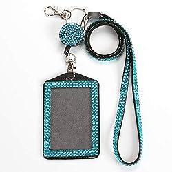 Blue Rhinestone Crystal Necklace Badge Card Holder