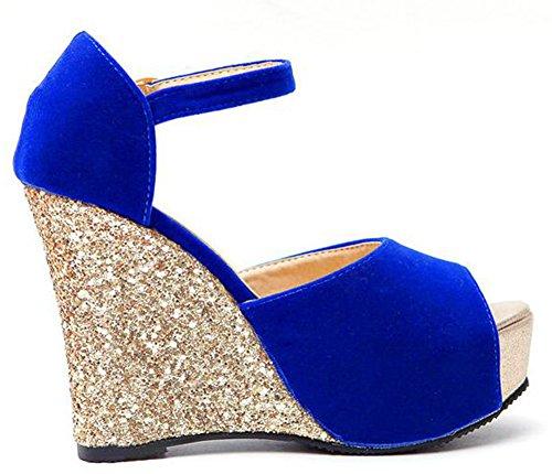 Easemax Mode Féminine Paillettes Haut Talon Talons Plateforme Sandales Bleu