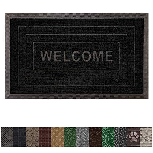 Gorilla Grip Original Durable Rubber Door Mat (29 x 17) Heavy Duty Doormat, Indoor Outdoor, Waterproof, Easy Clean, Low-Profile Rug Mats for Entry, Garage, Patio, High Traffic Areas (Black Welcome) ()