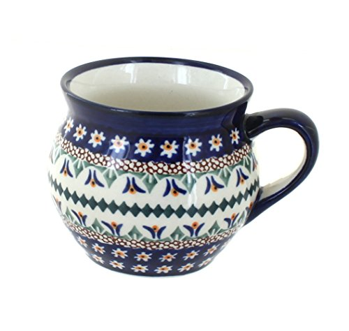 OKSLO Polish pottery daisy medium bell shape mug