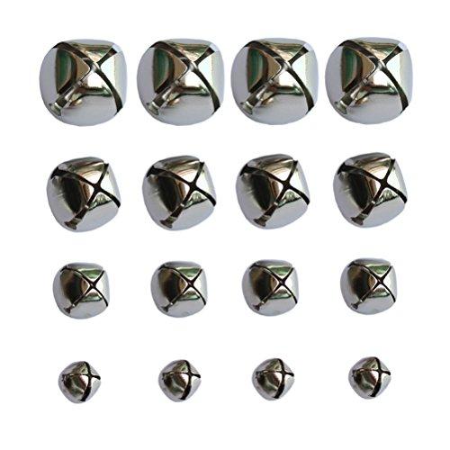 160 PCS Silver Christmas Jingle Bells Mini Small Bells Bulk for Festival & Party Decorations/ DIY Craft, 4 Sizes (10mm, 15mm, 20mm, 25mm)