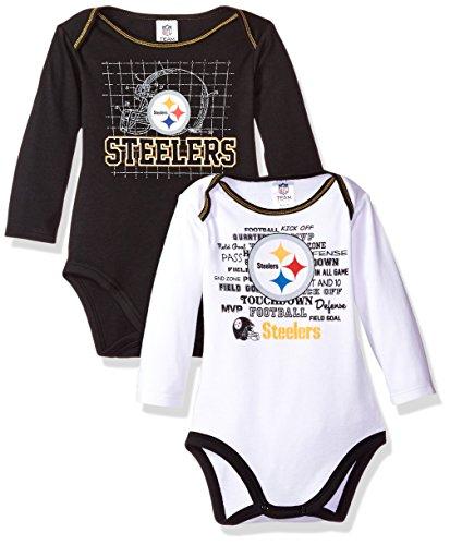 NFL Pittsburgh Steelers Long Sleeve Bodysuit (2 Pack), 0-3 Months, Black