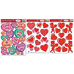 Valentines Day Window Clings, Bundle of 3