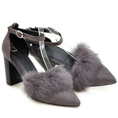 COOLCEPT Mujer Moda Puntiagudo D' Orsay Tacon Ancho Tacon alto Bombas Zapatos Sandalias Gris