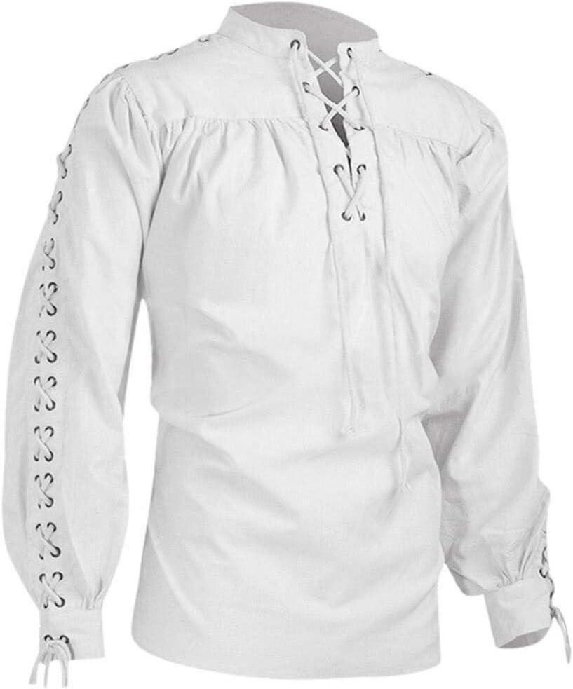 Camisa de pirata medieval para hombre, manga larga, con cordones, estilo gótico, victoriano, cosplay, para carnaval, retro, disfraz: Amazon.es: Instrumentos musicales