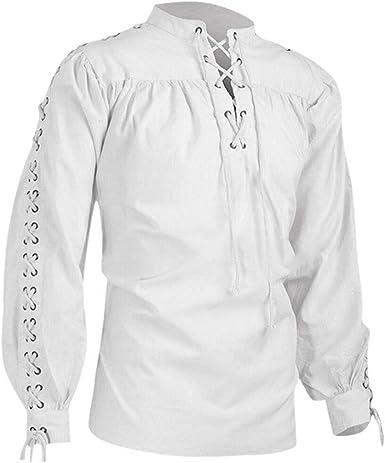 SO-buts Moda Hombre Otoño Invierno Retro Vendaje Camiseta Medieval De Manga Larga Hombre Gótico Blusa Tops Camisa: Amazon.es: Ropa y accesorios