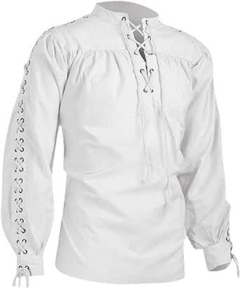 Camisa gótica Medieval para Hombre Blusa Vintage Estilo étnico de Manga Larga Camiseta de Fiesta de Vestir Blanco L: Amazon.es: Ropa y accesorios