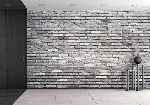 wall26 - Grey Brick Wall - Removable Wall Mural | Self-adhesive Large Wallpaper - 100x144 inches - Cheap Removable Wallpaper