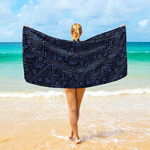 (Soft Comfortable Large Bath Towels, Super Absorbent Quick Dry for Beach Surfing Swimming Hotel Spa Yoga - Circuit Board Bath Sheet, 28