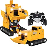 Best Choice Products Toy Transformer RC Robot Pushdozer Remote Control Car Lights And Sounds W/ USB Charger- Yellow