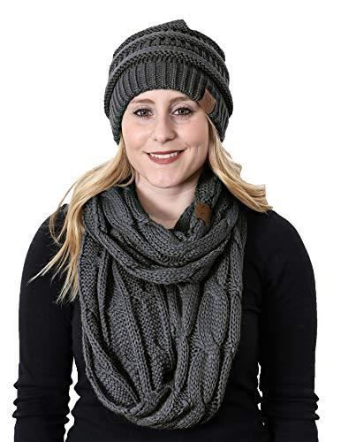 aHS-6020a-70 Regular Slouchy Beanie Matching Scarf Winter Set Bundle - Charcoal