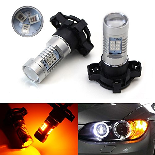 E71 Series (iJDMTOY (2) Amber Yellow Error Free 21-SMD PY24W 5200s LED Bulbs For BMW Front Turn Signal Lights, Fit E90/E92 3 Series, F10/F07 5 Series, E83/F25 X3 E70 X5 E71 X6 Z4, etc)