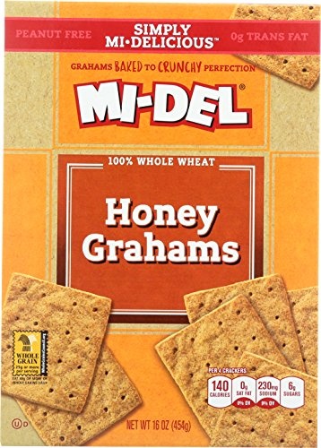 Price comparison product image Mi-Del 100% Whole Wheat Honey Grahams, 16 Ounce Boxes (Pack of 12)