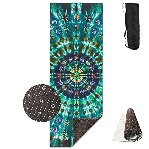 Cawhjdw Mandalas Tie Dye Extra Thick High Density Non Slip Anti Tear Exercise Hot Pilates Yoga Mat For Fitness