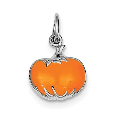 925 Sterling Silver Rhodium-Plated Orange Enameled Pumpkin Charm and Pendant