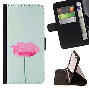 BullDog Case - FOR/Samsung Galaxy S5 V SM-G900 / - / poppy flower spring pink green spring /- Monedero de cuero de la PU Llevar cubierta de la caja con el ID Credit Card Slots Flip funda de cuer
