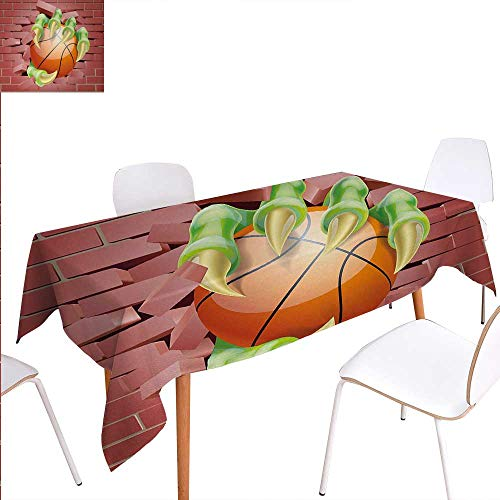 Brick Wall Rectangular Tablecloth Claw Beast Monster Hand Holds Basketball Through Brick Wall Paint Oblong Wrinkle Resistant Tablecloth 70