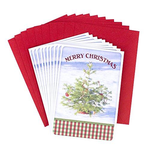 Hallmark Christmas Cards Pack, Christmas Tree in Snow (10 Cards with Envelopes) (Thomas Kinkade Christmas Cards)