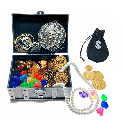 SIX VANKA Pirate Treasure Chest & 100pcs Plastic Play Gold Coins & 60pcs Acrylic Diamond Gems Jewels for Kids Toy Hunt Game Party Favors Birthdays -