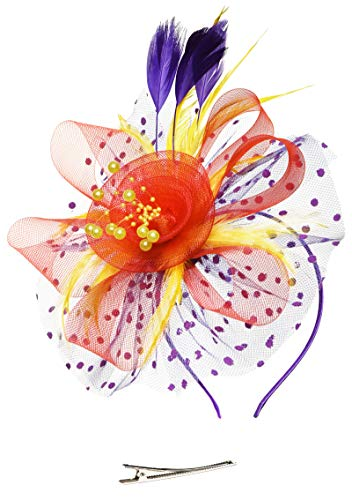 Fascinators Headband Tea Party Hats for Women Royal Wedding Hat Feather Mesh Hair Clip (1-Red and Purple and Yellow)