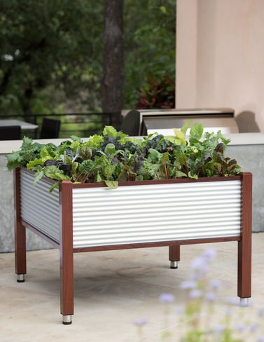 Galvanized Elevated Bed, 458221; x 458221; by Gardener's Supply Company