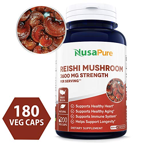 (Reishi Mushroom Extract 3600mg 200 Veggie Caps (Non-GMO & Gluten Free) Promotes Heart Health - Helps Balance Blood Pressure & Hormones)