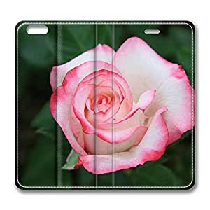 iPhone 6 Plus Case, Fashion Customized Protective PU Leather Flip Case Cover White Rose With Red Edges for New Apple iPhone 6(5.5 inch) Plus