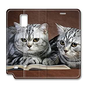 Brain114 Fashion Style Case Design Flip Folio PU Leather Cover Standup Cover Case with Cats On Book Pattern Skin for Samsung Galaxy Note 4