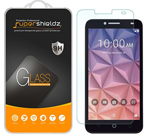 [2-Pack] Supershieldz for Alcatel OneTouch Fierce XL Tempered Glass Screen Protector, Anti-Scratch, Anti-Fingerprint, Bubble Free, Lifetime Replacement Warranty