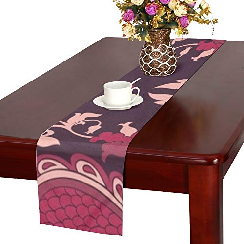- NQEONR Damask Burgundy Filigree Ornament Elegant Table Runner, Kitchen Dining Table Runner 16 X 72 Inch for Dinner Parties, Events, Decor