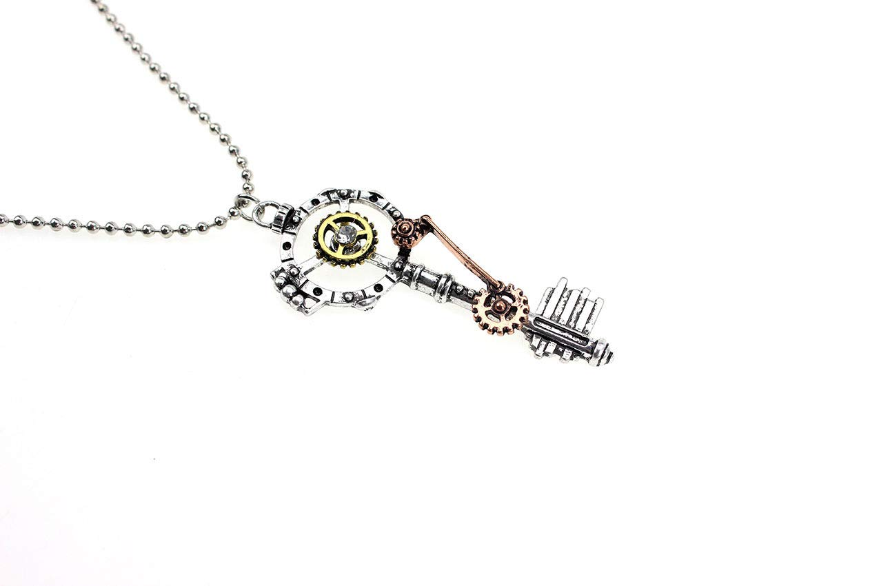 Dds5391 Attractive Retro Steampunk Gears Key Pendant Necklace Unisex Creative Long Chain Jewelry