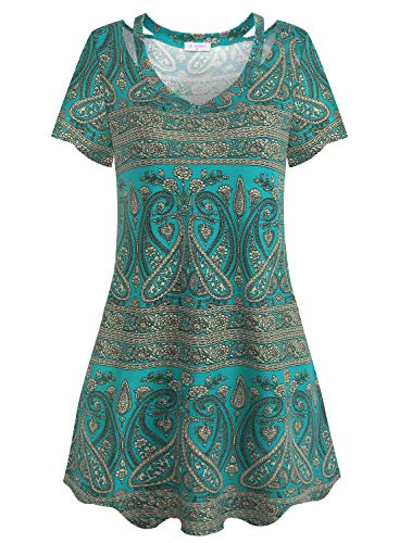 Bulotus Casual Dresses for Women Paisely Summer Dress Cold Shoulder V Neck (Paisley Green, Medium)