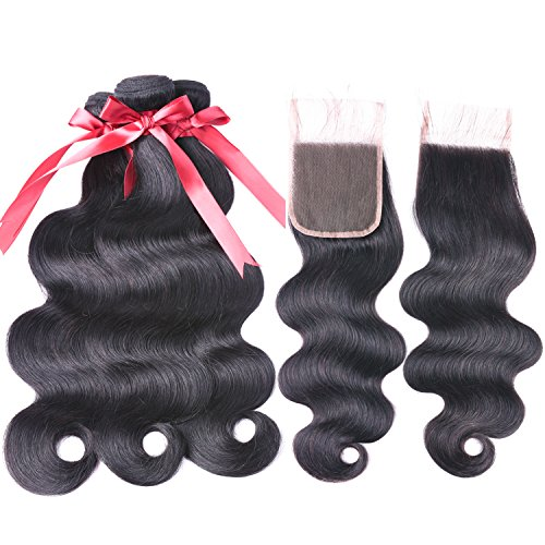 Brazilian Body Wave Human Hair 3 Bundles with Closure Free Part (10 12 14 +10 Closure) 100% Unprocessed Virgin Human Hair extensions With body wave Lace Closure Natural Black