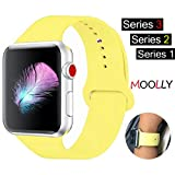 For Apple Watch Band, MOOLLY Soft Silicone iWatch Strap Replacement Sport Band for Apple Watch Band Series 3 Series 2 Series 1 Sport & Edition 38mm (Pollen Yellow, 38mm S/M)