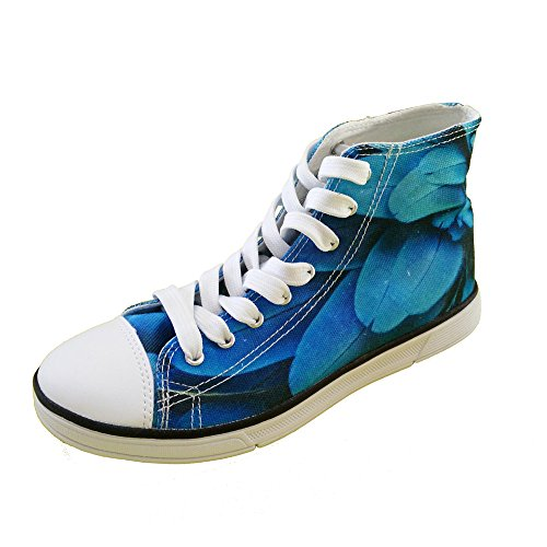 För U Designar Kvinna Hög Topp Canvas Platta Tillfälliga Mode Sneaker Löparskor Snörning Blue 1