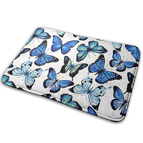 - YKYX Entrance Floor Mat Rug Indoor Outdoor Front Door Mat with Non-Slip Rubber Backing, Printing Doormats with Blue Butterfly Seamless Illustration,23.6