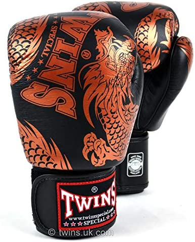 Twins Special Black-Silver Flying Dragon Muay Thai Boxing Gloves FBGVL3-49