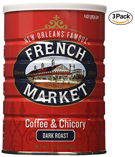 French Market Coffee & Chicory, City Roast(Dark Roast), 12-Ounce Cans (Pack of 3) - New Orleans French Coffee