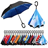 BAGAIL Double Layer Inverted Umbrellas Reverse Folding Umbrella Windproof UV Protection Big Straight