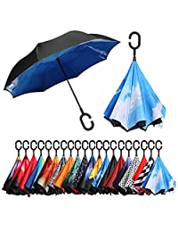BAGAIL Double Layer Inverted Umbrellas Reverse Folding Umbrella Windproof UV Protection Big Straight Umbrella for Car Rain Outdoor with C-Shaped Handle (Cloud)