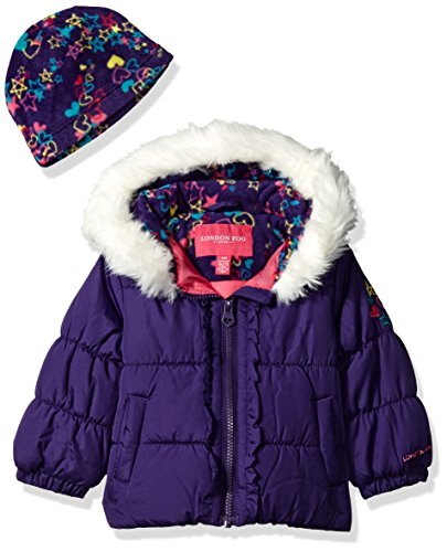 London Fog Baby Girls Winter Coat with Hat and Scarf, Deep Aubergine, (Aubergine Apparel)