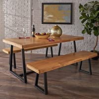 Jacob Farmhouse Cottage 3 Piece Natural Oak Finished Rubberwood Table and Bench Set