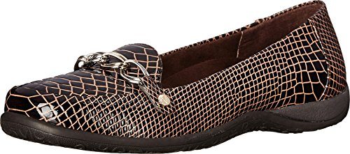 Vionic Alda Womens Leather Loafer Chocolate Patent Croco - 6 Medium ()